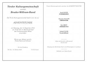Anlage zur Einladung - Tiroler Kulturgemeinschaft - Bruder-Willram-Bund - Einladung zur Adventstunde